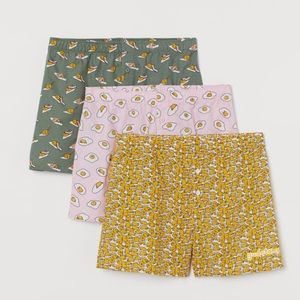 H&M X Sanrio Gudetama egg patterned boxers (3 prs)